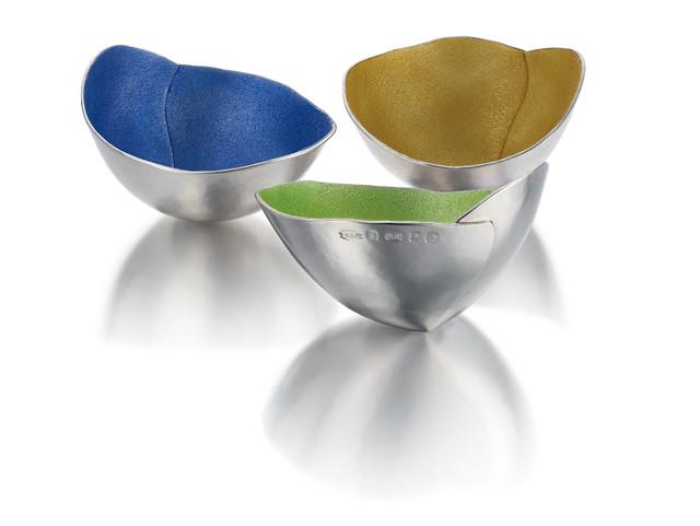 Crunch Pierce Bowl Collection Britannia Silver and Enamel 2014